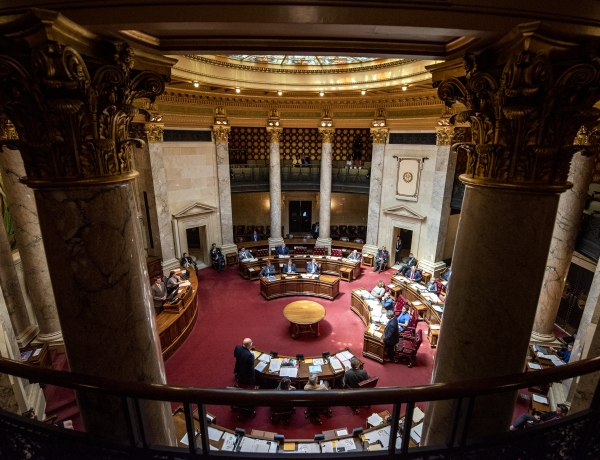 The Wisconsin state senate is seen from the upper gallery.