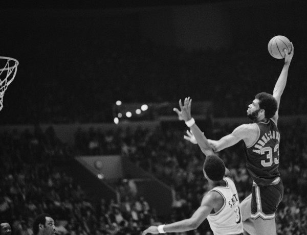 Kareem Abdul-Jabbar shows the form on his hook shot that the Los Angeles Lakers couldn't stop
