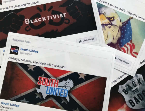 This Nov. 1, 2017 file photo shows prints of some of the Facebook ads linked to a Russian effort to disrupt the American political process