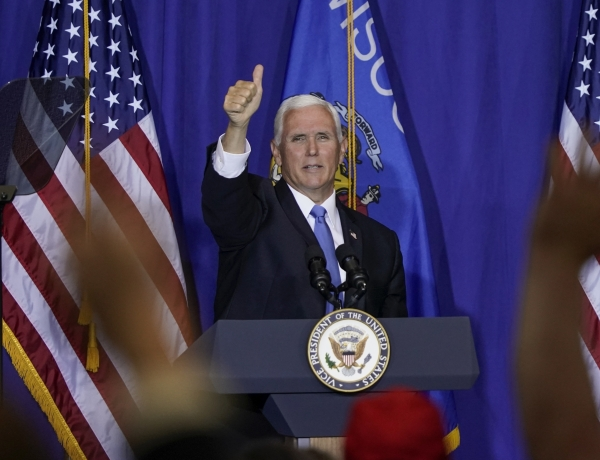 Vice President Mike Pence speaks at a campiagn stop in Janesville
