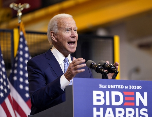 Joe Biden speaks at a campaign event