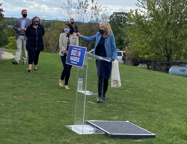 Former Second Lady Jill Biden made a stop in Eagle, Wisconsin, on Monday, Sept. 28