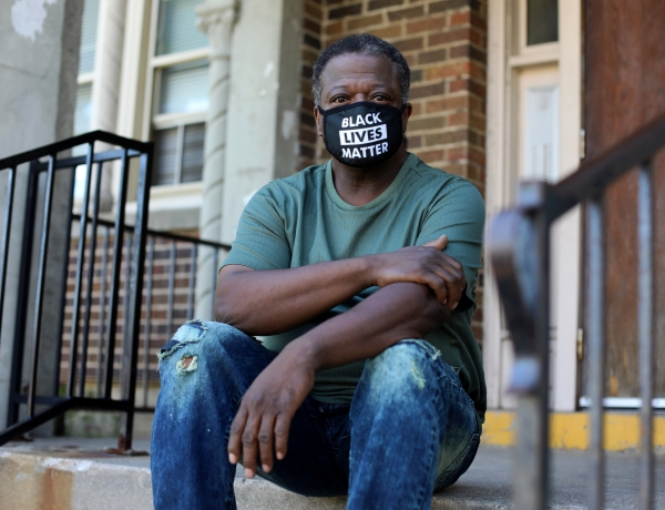 Robert Pettigrew is seen outside of his two-bedroom apartment in Milwaukee