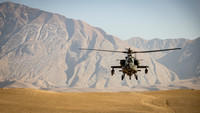 Apache attack helicopter in approach, Sep 2020.