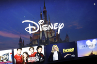 A Disney logo forms part of a menu for the Disney Plus movie and entertainment streaming service