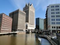 The Milwaukee Riverwalk as ice melts