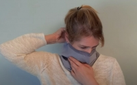A screenshot from a video explaining how to make a Neck Gaiter mask