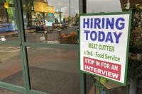 'Hiring Today' sign