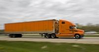 A Schneider truck drives on Highway 41 in Wisconsin