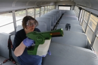 cleaning a school bus in Virginia
