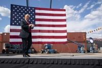 President Donald Trump arrives to speak at Fincantieri Marinette Marine