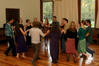 People contra dancing