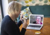 Helen Walters, left, talks to her mother Gillian using video calling