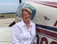 85-year-old Beverly Blietz, a former recreational pilot, Uber driver, art gallery docent and community volunteer.