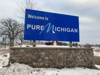 """Welcome to Pure Michigan"" sign"
