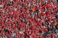 "Fans during ""Jump Around"" at a Wisconsin Badgers football game."