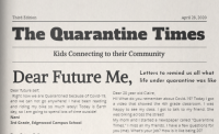 """An April 28, 2020 copy of """"The Quarantine Times"""" features letters from kids to their future selves"""