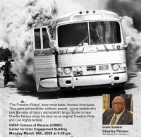 The Freedom Riders event poster, depicting smoke that is pouring out of a bus