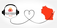 A graphic image of headphones and the cord in the shape of a heart and plugged into Wisconsin.