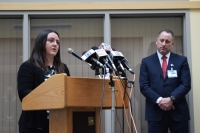 La Crosse County Health Department Director Jen Rombalski and Mayo Clinic Health System of La Crosse Dr. Paul Molling speak at a news conference on Wednesday, March 20 announcing the first positive tests for COVID-19 in La Crosse County