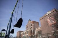 Empty swings at a school