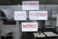 'Closed Until Further Notice' sign at restaurant