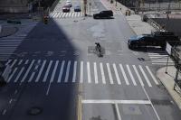 A bike runs through an empty street