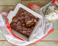 Chocolate bread pudding with vanilla ice cream