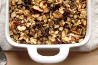Cranberry wild rice pilaf in baking dish