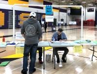 Man prepares to vote