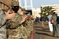 Soldiers applaud incoming and outgoing medical shifts