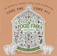 Local Food Fair Poster with drawings of farm products