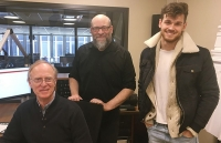 Photo of Host Norman Gilliland, Conductor Kenneth Woods and Violinist Blake Pouliot in WPR Studio