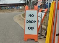 """School sign says """"No Drop Off"""""""