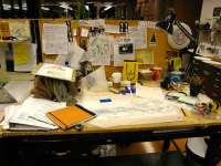 Messy office desk
