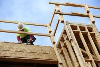 Construction worker building a home