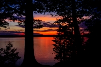 Sunset on a lake in the northwoods of Wisconsin