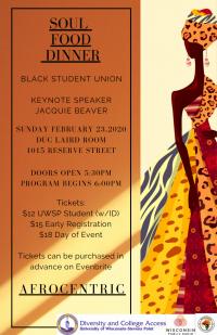 Poster for UWSP's Black Student Union Soul Food Dinner
