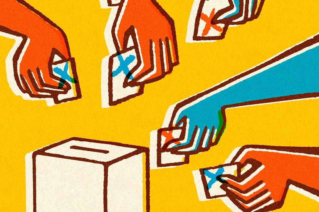 voting hands graphic