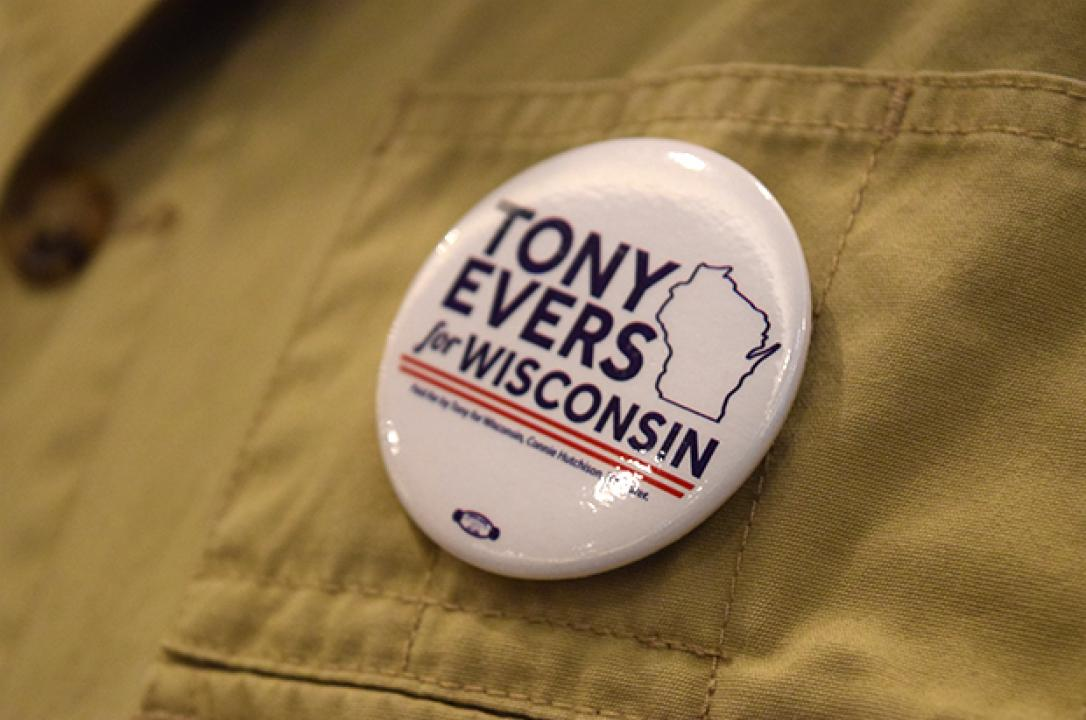 Tony Evers, button, gubernatorial campaign, Premier Park Hotel, Madison
