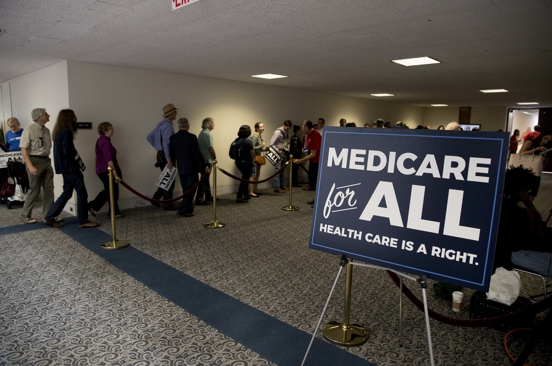 news conference about Medicare for All