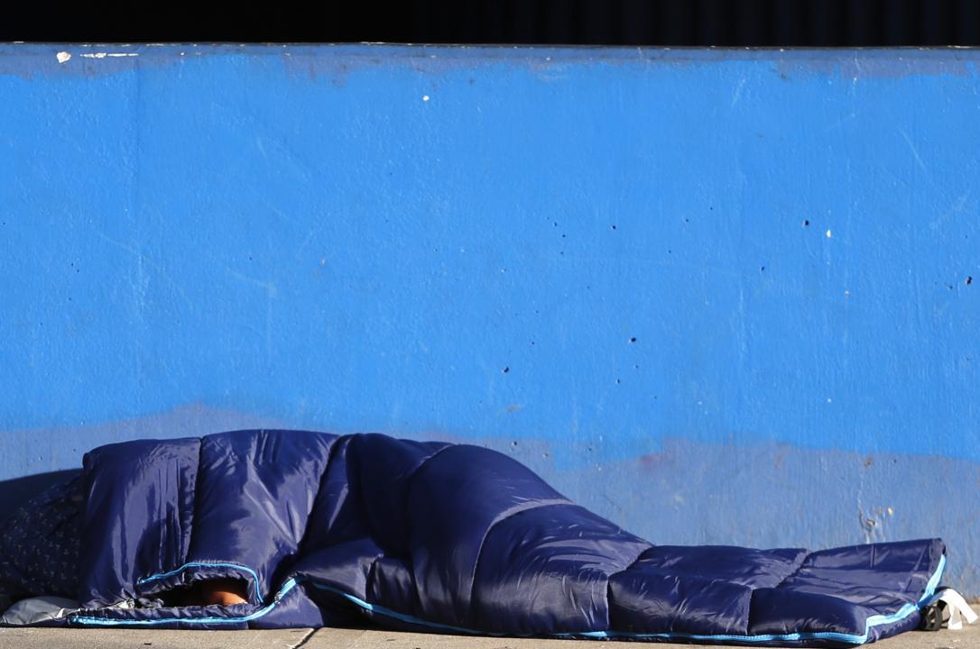 person sleeping outside