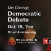image of a United States flag and the words democratic debate on October 15 at 7 p.m.