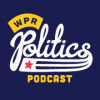 Blue background with baseball script text that says WPR Politics Podcast