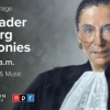 a painting of justice ruth bader ginsburg with the words ceremonies honoring the late justice september 25 at 8