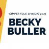 colorful fiddles, banjos and bass sit on each sided of the words Simply Folk Shindig 2021 With Becky Buller