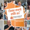 a collage of photos of WPR staff are holding up signs that make the state of Wiscsonsin and the words come work with us